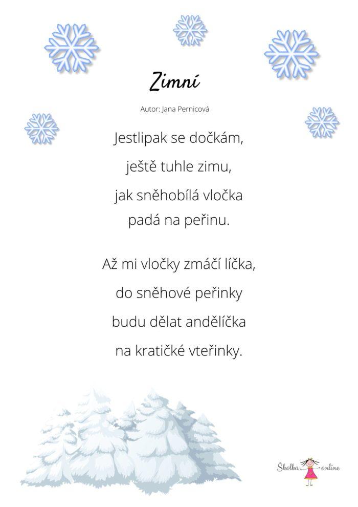 Zimní básnička - předškoláci