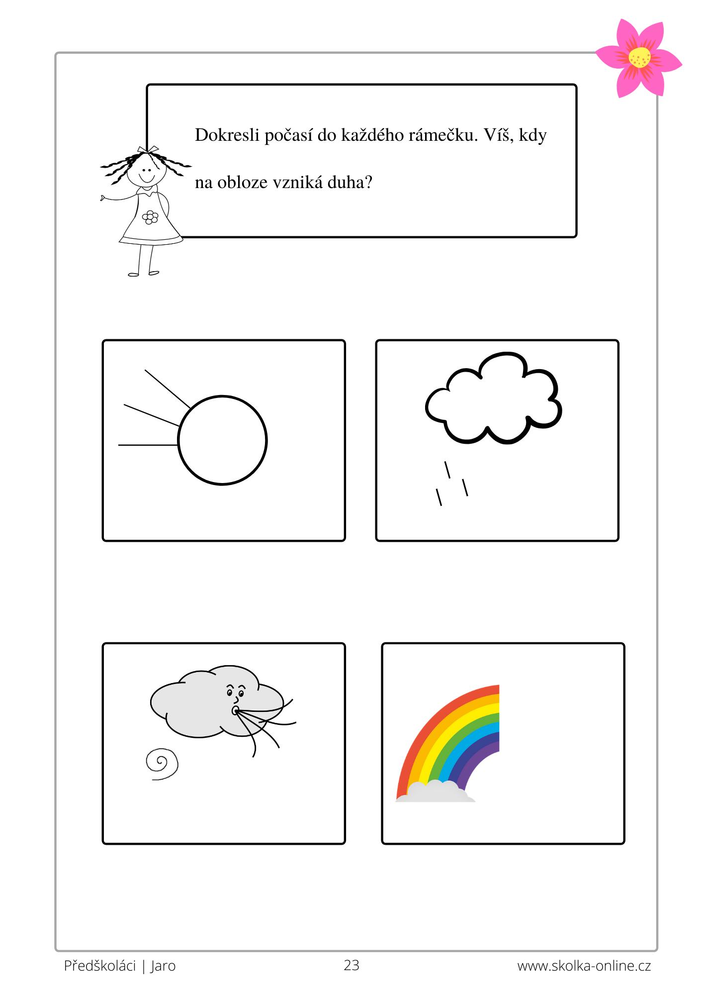 Pracovní listy pro předškoláky jaro